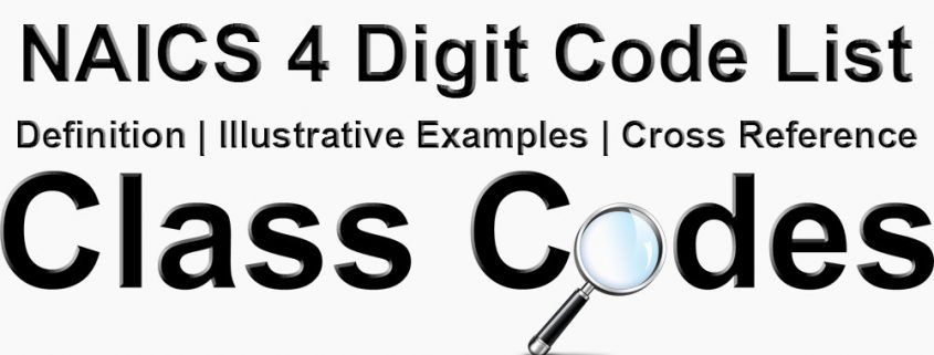 NAICS 4 Digit Industry Group Code List | Class Codes